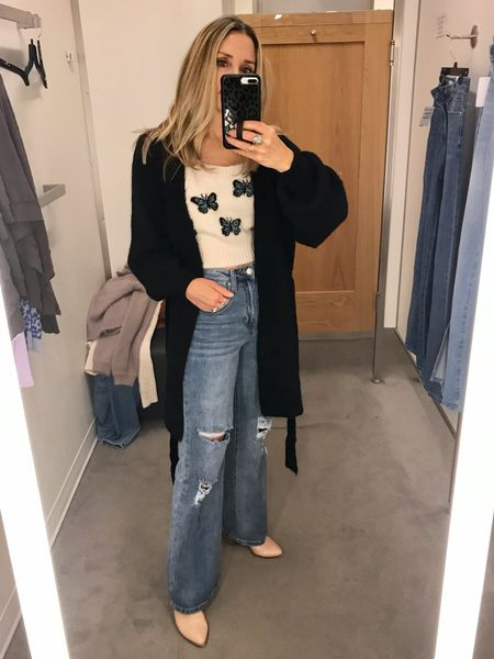Nordstrom fall try on! Long wide leg jeans, crop top sweater, belted cardigan. Wearing size 25 in jeans.   Straight leg jeans, long cardigan, topshop, casual outfit, denim trends, distressed jeans, high waisted jeans, jeans under $50  #LTKunder100 #LTKstyletip #LTKunder50