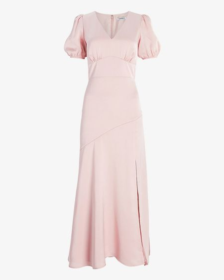 Blush satin maxi dress with slit and puff sleeves—perfect dress for your engagement session or to wear as a wedding guest.  #LTKwedding #LTKunder100 #LTKDay  Tags: wedding guest dress, engagement session dress, pink maxi dress http://liketk.it/3gkzm #liketkit @liketoknow.it