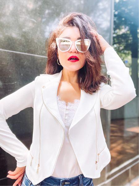 White asymmetrical jacket   #LTKunder50 #LTKstyletip