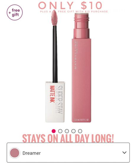 Maybelline Superstay Matte Ink in Dreamer. Stays on all day even after eating and drinking! Color gets slightly darker as the day goes on. Only $10 plus free gift with $15! Lipstick, lip tint, mauve pink, lip color, velvet, smooth. http://liketk.it/3fx19 @liketoknow.it #liketkit #LTKunder50 #LTKbeauty #LTKworkwear #LTKwedding