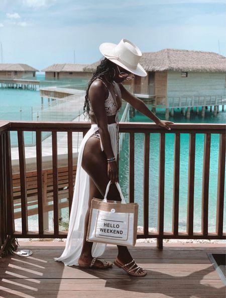 Resort wear, swim, cover up, hat, sandals, bag   #LTKsalealert #LTKswim #LTKDay