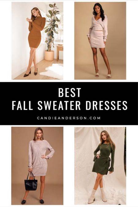 Best sweater dresses for fall! Trendy fall fashion!! Casual dresses, wedding guest dress. Lulus sweater dress. Dresses under $100! ❤️   #LTKstyletip #LTKunder100 #LTKSeasonal