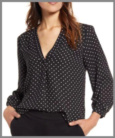 Nordstrom anniversary sale dressy top. Perfect versatile for the office or holiday parties.  black polka dot top.  #LTKsalealert #LTKunder100 #LTKunder50