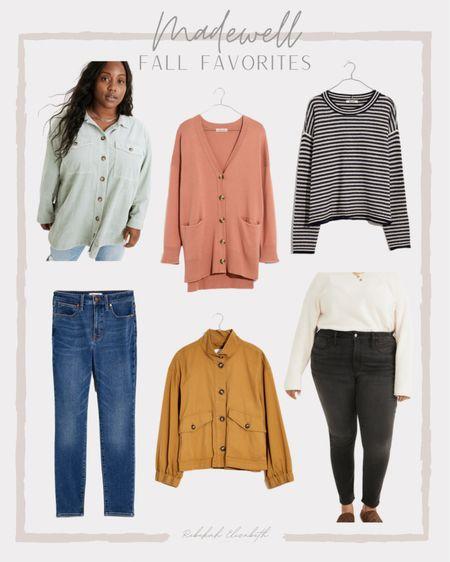 Madewell fall favorites | black denim • curvy high rise skinny jeans • cardigan sweater • corduroy jacket • striped pullover sweater • balloon sleeve jacket #rebekahelizstyle   #LTKcurves #LTKstyletip #LTKSeasonal