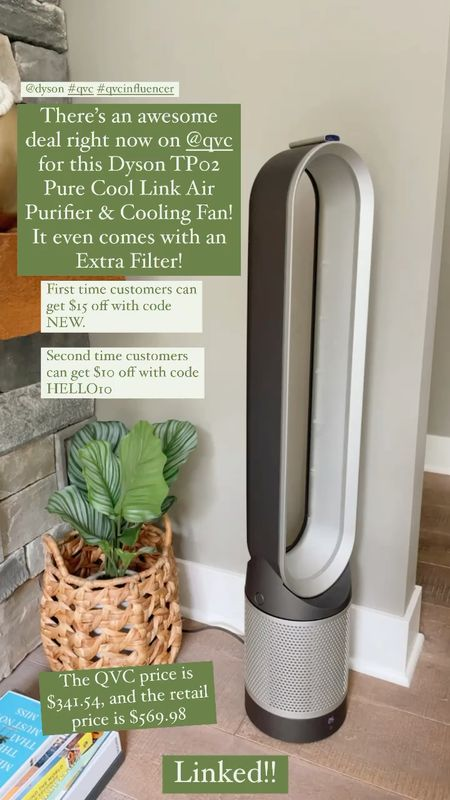Dyson TP02 Pure Cool Link Air Purifier & Cooling Fan w/ Extra Filter is on sale at QVC!  The QVC price is $341.54, and the retail price is $569.98. -First time customers can get $15 off with code NEW. Second time customers can get $10 off with code HELLO10. - Includes TP02 air purifier/fan, extra filter, remote, and CR2032 lithium battery  Quiet fan. Living room decor   #LTKhome #LTKsalealert