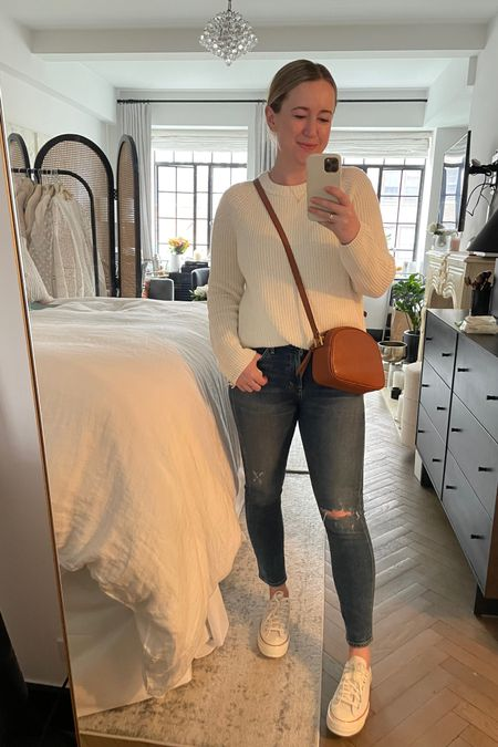Casual weekend outfit featuring ankle crop jeans and cotton fisherman sweater (M) and converse sneakers. Jcrew bag on sale! @liketoknow.it http://liketk.it/3ht0B #liketkit #LTKsalealert