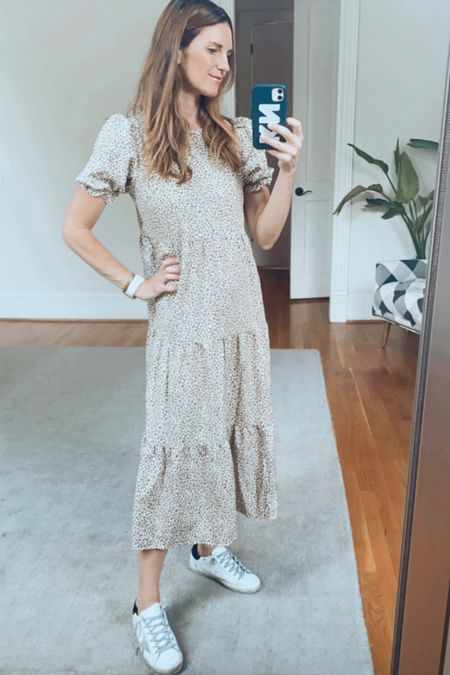 Fall dress, animal print, fall neutrals, Mom style, maxi dress, golden goose sneaker outfit, casual sneakers, amazon, found it on Amazon, amazon style, over 30, over 40, finding beauty mom   #LTKstyletip #LTKGifts