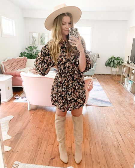 Fall Floral dress, knee high boots, hat http://liketk.it/2Xcdo #liketkit @liketoknow.it