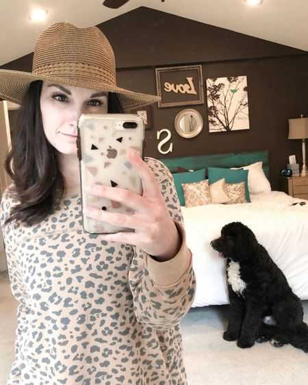 I can't wait to have a place to where this straw Panama hat!! It's currently on major sale @nordstrom! Also featuring my favorite leopard print side snap sweatshirt! http://liketk.it/2N42i #liketkit @liketoknow.it #LTKsalealert #StayHomeWithLTK Follow me on the LIKEtoKNOW.it shopping app to get the product details for this look and others