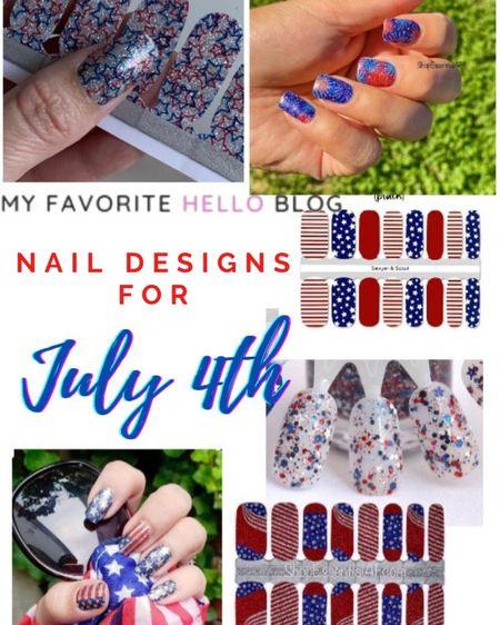 Fourth of July nail designs. July 4th nails http://liketk.it/3g6fP #liketkit @liketoknow.it #LTKunder50 #LTKstyletip #nails #fourthofjuly #naildesigns