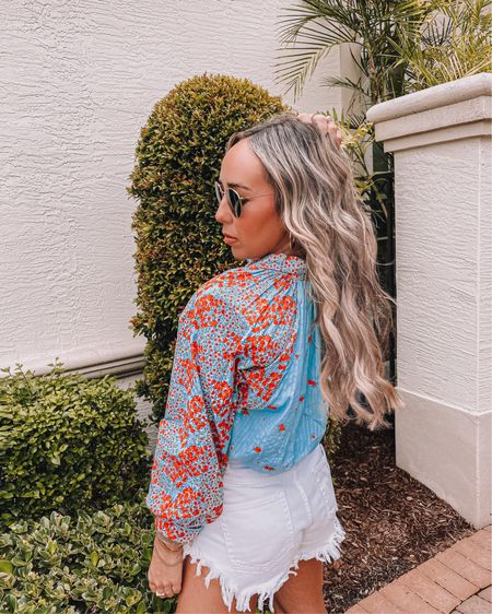 The cutest Summer top love this print paired with white denim shorts and some messy beach waves!    http://liketk.it/3iLnd @liketoknow.it #liketkit #LTKbeauty #LTKstyletip