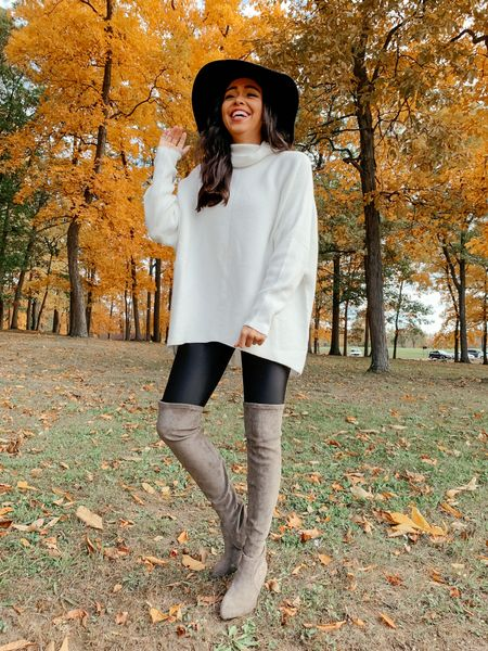 The famous Amazon sweater that has over 17K reviews! Wearing a size XS & has a oversized fit! Code: SARAHJUDE40 will give you 40% off these over the knee boots!! The boots take 2-3 weeks to shop but will be arrive in time for end of summer/early Fall! 🍁   #LTKunder100 #LTKunder50 #LTKshoecrush