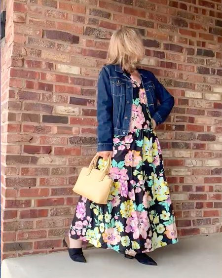 I'm loving the colors of this bright floral print sleeveless Who What Wear™ maxi dress from Target. The black background will give me plenty of options. Today it is still chilly so I'm wearing it with a jean jacket and black faux suede flat slide shoes from Old Navy. I couldn't resist this pastel yellow top handle bag from A New Day. It is the ideal smaller size and it also has a cross body strap for long walks. Besides, the sunny color will go with everything!   #LTKSeasonal #LTKunder50 #LTKstyletip