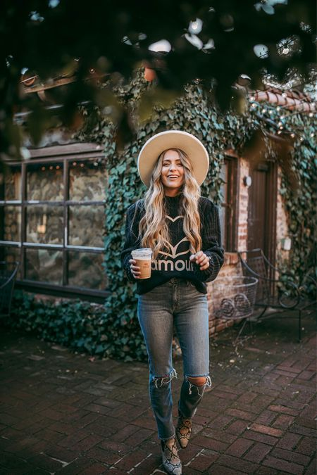 Strolling through Wednesday with my second coffee, cause it's needed! Who feels me?  Jeans @revolve Boots @dolcevita Sweater @ellandemm_co Hat @gigipip Exact items linked  http://liketk.it/373qG #liketkit @liketoknow.it
