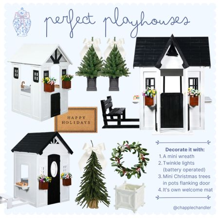 Perfect playhouses  Christmas gift guide: white playhouse play house, outdoor Playset play set swing set Walmart target Amazon Christmas gifts for kids girls boys children pretend play, mini Christmas tree porch tree evergreen Frazier furr firr fir fur tree welcome mat wreath Christmas decor holiday decorations diy playhouse   #LTKHoliday #LTKGiftGuide #LTKkids