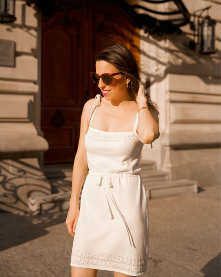 Knit dress, white dress, summer outfit, brown heels,   #liketkit #LTKstyletip  @shop.ltk   #LTKstyletip