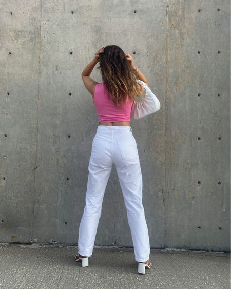 No one: Love your hair Me: Thanks, I just washed it!  White denim, distressed denim, high rise denim, straight leg jeans, white jeans, pink top, pink outfit, pink crop top, crop top, summer style, amazon finds   #LTKunder100 #LTKstyletip #LTKitbag