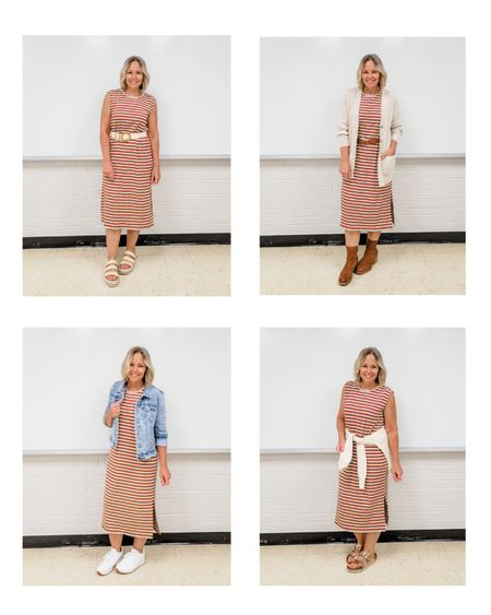 Casual everyday teacher outfit options featuring a ribbed striped sleeveless midi dress with a cardigan styled several ways #teacher #mom #mididress #knitdress #ribbeddress #stripeddress #whitesneakers #wovensandals #birkenstock #Casual #fall #summer #layers #cardigan #transition #Petite #lifestyle http://liketk.it/3luXx @liketoknow.it #liketkit