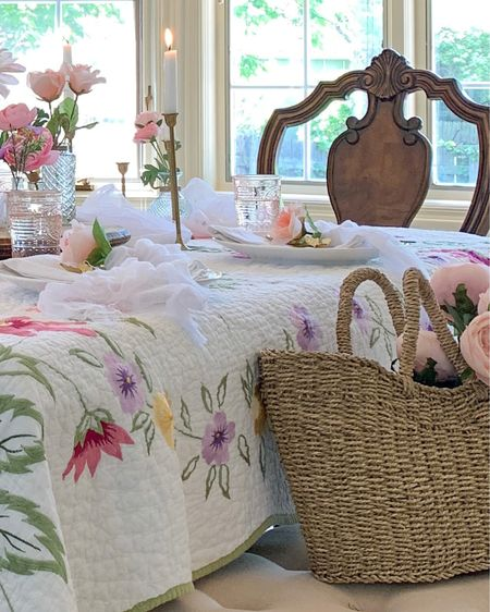 Romantic Cottage Style Decor Essentials: Seagrass Braided Basket 🧺, Feminine Florals, Pink Glassware, and Brass Candlesticks. 🧺🌸💝🥰  #romanticdecor #cottagedecor #flowerdecor #cottagestyledecor #cottagestyle #baskets     Shop my finds and decor ideas by following me on the LIKEtoKNOW.it shopping app    @liketoknow.it   http://liketk.it/3iy9l #liketkit #LTKsalealert #LTKhome #LTKstyletip @liketoknow.it.home