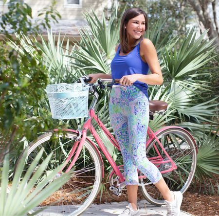 """Top: Sunray Bra Tank UPF 50+: """"Corsica Blue""""  Pants: Luxletic Weekender High Rise Crop Legging: """"Multi Shell Of A Party"""""""