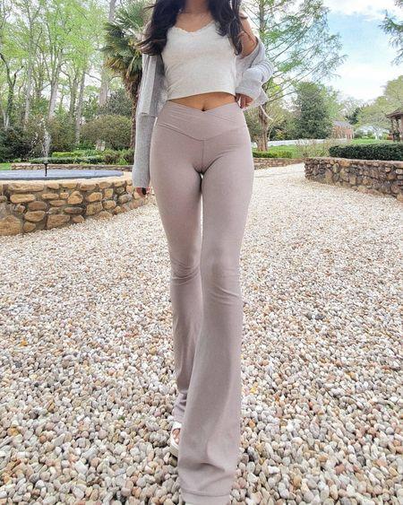 Aerie crossover flare leggings are so cute and comfy  http://liketk.it/3cUid @liketoknow.it #liketkit #LTKstyletip #LTKunder50 #LTKshoecrush