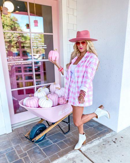 Pink plaid blazer size M  Matching pink skirt size M  White crop top size M White boots TTS  Pink hat  Fall style, workwear blazer, fall outfit, workwear look, concert inspo  Target gold hoops  Pink bracelet stack    #LTKstyletip #LTKunder50 #LTKsalealert