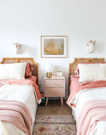 Girls room, shared sister room, unicorn room, rainbow room, pink room, modern quilt, pre-teen room, vintage inspired rug, pink rug   #LTKhome #LTKfamily #LTKkids