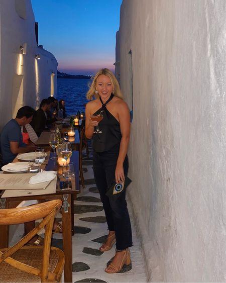Outfit for dinner in Mykonos 🧿🖤 #Mykonos #ootn