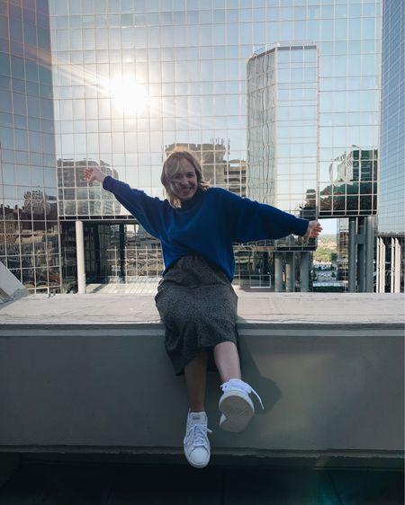 My NEW fav fall style! Chunky sweater, midi skirt, and white sneakers 💙😍 http://liketk.it/2YYOF @liketoknow.it #liketkit #LTKstyletip #LTKunder50 #LTKfall #LTKleopard #LTKsneakers #LTKshoes #LTKcolors