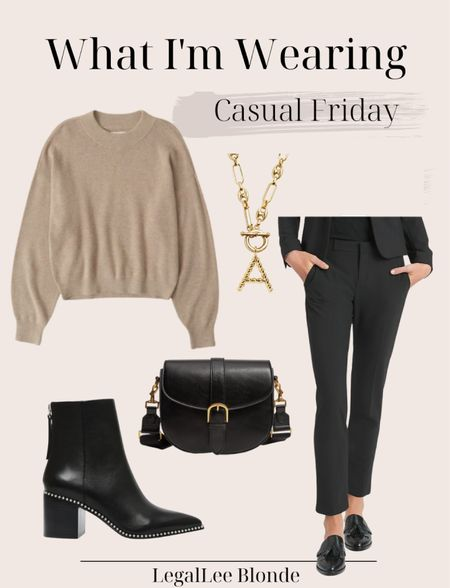 Casual Friday outfit idea for the office! - crewneck sweater - fall work wear - business casual - dress pants - black pants - ankle boots - Steve Madden boots  - banana republic - fall handbag - crossbody bag - leather boots   #LTKstyletip #LTKunder100 #LTKworkwear