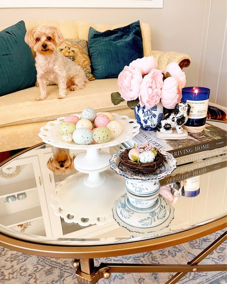 Happy Sunday, friends!  This weekend I added a few Easter touches to my house! My new @ballarddesigns coffee table is decorated with faux pink peonies, speckled eggs and a lovely Anthro dupe candle (Storm by Scentsational…check at @tjmaxx and @homegoods).  I hope it's sunny where you are today!  P.S. Screenshot this picture and use the @liketoknow.it app for these and comparable finds!  #milkglass #Easterdecor #grandmillennial #grandmillennialdecor #grandmillenniastyle #blueandwhite #blueandwhitehome #blueandwhiteforever #chinoiserie #chinoiseriechic #howivintage #mysouthernliving #heirloomhome #home #collectedhome #decorcrushing #homeinsp #itsacolorfullifetour #antiques #antiquelover #jamesfarmer #ericross #antiquefurniture #vintagehomecrush #traditionalhome #southernliving http://liketk.it/39WgN #liketkit @liketoknow.it.home Shop your screenshot of this pic with the LIKEtoKNOW.it shopping app    #LTKSeasonal #LTKhome