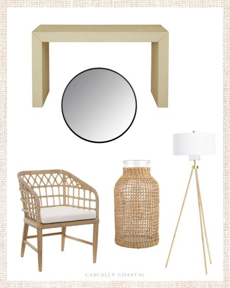 """Sharing my five favorite deals of the weekend! The raffia console table and rattan dining chair are both on clearance, but I'm guessing inventory is limited. The black mirror is an incredible deal at just $68. The rattan vase currently has a coupon - 5% off the large size and 10% off the smaller size. This gold floor lamp is beautiful and is just $130 with free shipping if you use code SHIP89. Love that it has a three-way switch as well! - home decor, decor under 50, home decor under $50, fall decor, fall decorations, fall home decorations, coastal decor, beach house decor, beach decor, beach style, coastal home, coastal home decor, coastal decorating, coastal interiors, coastal house decor, home accessories decor, coastal accessories, beach style, blue and white home, blue and white decor, neutral home decor, neutral home, natural home decor, TJ Maxx finds, TJ Maxx home, rattan dining chairs, dining chairs on sale, side chairs, black mirror, 28"""" round black mirror, 28"""" round mirror, Amazon home, textured vase, Amazon finds, floor lamp with shade, floor lamp with white shade, gold floor lamp, woven console table, neutral console table, entryway table  #LTKsalealert #LTKunder100 #LTKhome"""