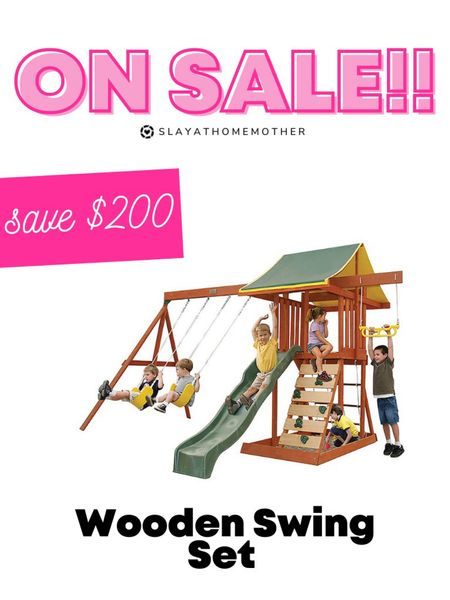 Save $200 on this wooden swing set! A great Christmas gift option   Walmart home, target home, cleaning, clean home, dream home, under 50, daily deals, 5 stars, amazon finds, amazon deals, daily deals, deal of the day, dotd, bohemian, farmhouse decor, farmhouse, living room, master bedroom, Christmas gift, kids  💕Follow for more daily deals, home decor, and style inspiration 💕  #LTKsalealert #LTKHoliday #LTKkids