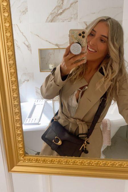 Coach tabby bag - coach bag - crossbody bag - designer bag - burberry coat - burberry trench - trenchcoat - gold mirror - H&M dress   #LTKstyletip #LTKsalealert #LTKunder50