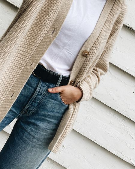 Just a comfy lakeside look.   Cardigan - @jennikayne - Use LEE15 for 15% Off anytime (so sized down & there's a full review on the blog) Tee - @everlane Belt - @madewell (I sized down) Jeans - @able - Use LEEV20 for 20% Off anytime. (True to size for a relaxed fit)    #LTKsalealert #LTKSeasonal