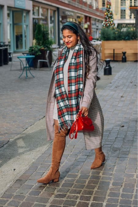 Holiday outfit ideas, plaid scarf, sweater dress, Christmas outfit, holiday outfit, holiday style, over the knee boots, plaid trench coat   #LTKbump #LTKgiftspo #LTKunder50