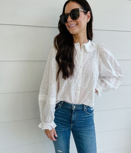 The cutest embroidered balloon sleeve target blouse! Wearing a small but it's ok to size down on this one!