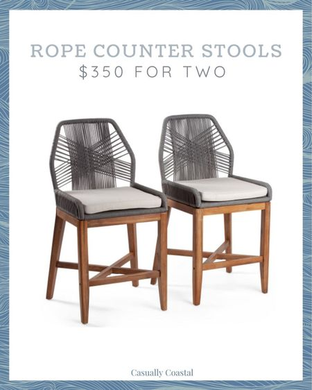 Run, don't walk! I expect these rope counter stools to sell out today!  - coastal decor, beach house decor, beach decor, beach style, coastal home, coastal home decor, coastal decorating, coastal house decor, blue and white home, blue and white decor, counter stools with back, counter stool woven, rattan counter stool, serena and lily counter stools, serena & lily counter stools, woven counter stools, TJ Maxx finds, TJ Maxx home, rope counter stools, grey counter stools, marshalls home   #LTKhome #LTKfamily