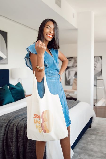 Denim dress and canvas tote http://liketk.it/2R409 #liketkit @liketoknow.it #LTKunder50 #LTKunder100 #LTKsalealert