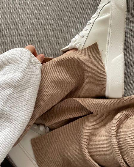 casual look 🤍 Flare pants - knit pants & white sneaker http://liketk.it/3fLhb #liketkit @liketoknow.it #strickhose #sneakerlook #LTKeurope #LTKstyletip @liketoknow.it.europe