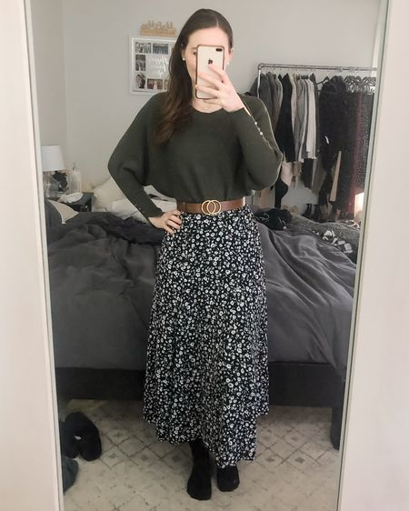 Modest early spring outfit, sweater and skirt outfit, midi skirt, floral skirt, comfortable and casual http://liketk.it/3bTdM #liketkit @liketoknow.it