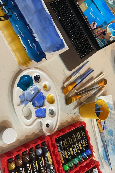 Art course ready for adults or kids with these premium paints.  Brushes on sale!   #LTKhome #LTKunder50 #LTKkids