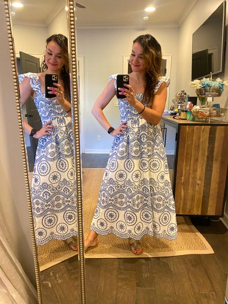 Summer dress 💙 How cute is this float maxi dress!  Wearing a small. Use code HEATHER40 for 40% off my dress🥰   #LTKstyletip #LTKunder50 #LTKunder100