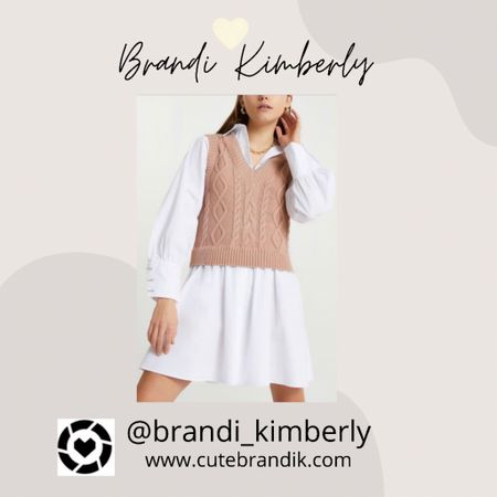 Such a cute trendy sweater dress with a vest and an oversized button shirt underneath. Cute for fall and back to school  #LTKstyletip #LTKbacktoschool #LTKSeasonal