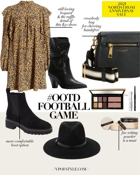 Football game outfit idea with pieces from the Nordstrom anniversary sale going on now. #LTKunder50 #LTKunder100 #LTKsalealert fall dresses on sale. Fall boots on sale. Black boots. Setting powder. Eye pallette. Makeup sale. Beauty sale. Wide brim fall hat on sale http://liketk.it/3jJw7 #liketkit @liketoknow.it