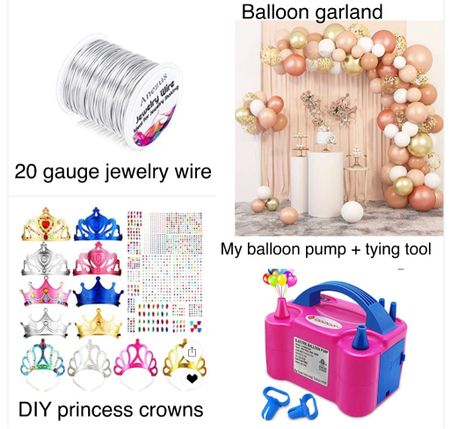 Princess party - DIY craft process crowns with jewels. Pink and gold balloon garland. 20 gauge jewelry wire to make garland. Balloon pump for fast inflating and tying .