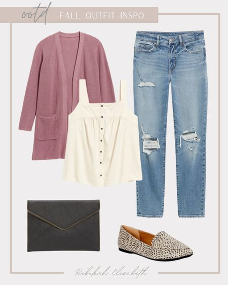 OOTD fall casual outfit inspo | open front cardigan • button front swing top • envelope clutch • animal print flats • high waisted light wash jeans | #rebekahelizstyle   #LTKstyletip #LTKcurves #LTKunder50