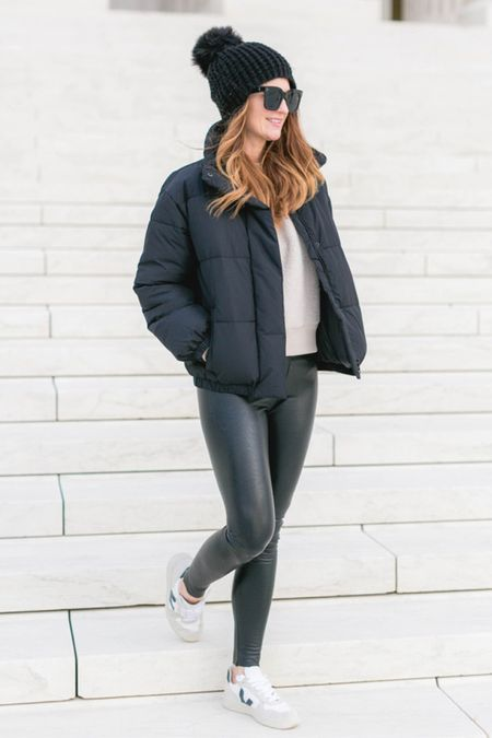 Puffer jacket, amazon jackets, black jackets, fall outfits, back to school, Spanx outfit, sneakers, puffer coat, finding beauty Kim   #LTKbacktoschool #LTKunder100