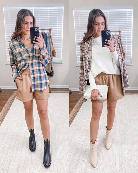 Ways to style faux leather tan/brown shorts: plaid flannel top, ABLE Wilma boot, cowl neck sweater, scrunch booties, plaid blazer, casual style, dressy style   #LTKunder50 #LTKunder100 #LTKstyletip