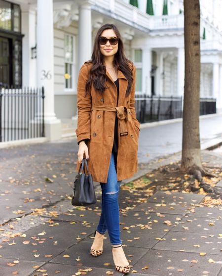 Suede trench coat with jeans. #fallsryle #suede  #LTKstyletip #LTKSeasonal